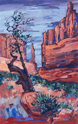 Oil painting scenery of Grand Country Utah's red rock fins by impressionist artist Erin Hanson