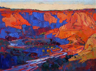 Canyon de Chelly depicted in thick oils and bold color, by artist Erin Hanson