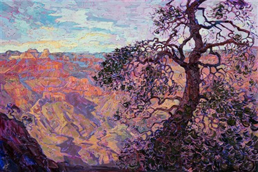 Grand Canyon vista oil painting by modern impressionist Erin Hanson.