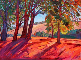 California wine country inspired oil painting, by modern impressionism painter Erin Hanson