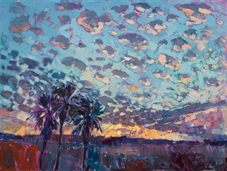 Dramatic sky oil painting in an Open Impressionist style, by Erin Hanson.