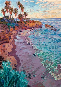La Jolla Cove original oil painting for sale by local impressionist painter Erin Hanson