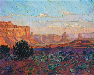 Monument Valley red rock landscape oil painting by modern master impressionist Erin Hanson.
