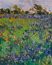 Texas Bluebonnets, original oil painting for sale by modern impressionist artist Erin Hanson