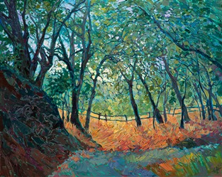 Colorful California landscape painting in a modern impressionist style, by Erin Hanson.