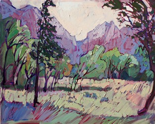 Lavender and green hues at Zion National Park, oil painting by Erin Hanson