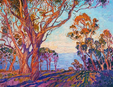 La Jolla eucalyptus oil painting in modern impressionism style by Erin Hanson