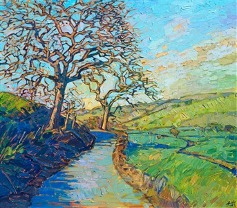 Oil painting of Paso Robles with a path lined with gnarled trees, by contemporary impressionist artist Erin Hanson