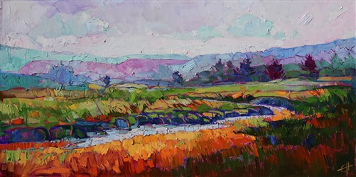 Northwest coastal marshes painted in thickly textured oils by artist Erin Hanson