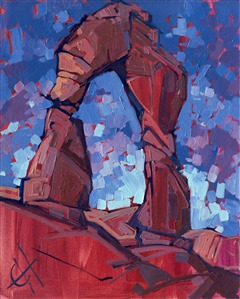 Original oil painting of Arches National Park painted abstractly by artist Erin Hanson