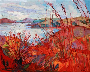Bold summer colors of Whale Rock Reservoir, by painter Erin Hanson