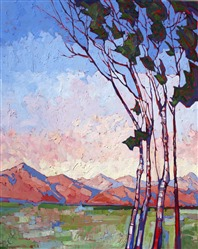 Dreamlike colors and birch trees make for a beautiful painting by Erin Hanson