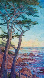 Ayres Hotel Seal Beach painting of Monterey cypress trees by Erin Hanson