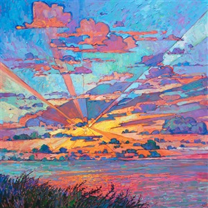 Radiant light streaks from this dramatic cloudscape by modern impressionist Erin Hanson