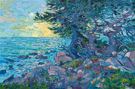 Pebble Beach oil painting of Monterey Peninsula by modern impressionist painter Erin Hanson