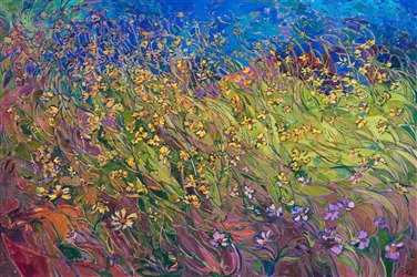 Oil painting of wildflowers with a lot of movement by impressionist artist Erin Hanson