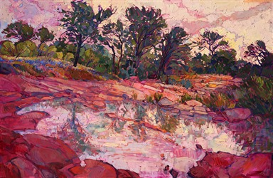 Texas hill country modern landscape painting by modern artist Erin Hanson
