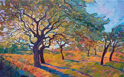 Oak tree painting in a contemporary open impressionist style, by Erin Hanson.
