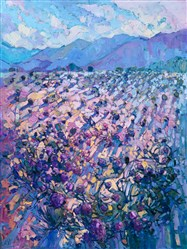 Pantone colors 2016: desert wildflowers on white sand oil painting landscape by Erin Hanson