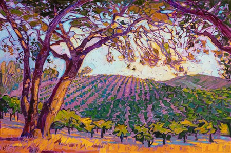 Collect impressionist paintings of California wine country, Paso Robles, by Erin Hanson
