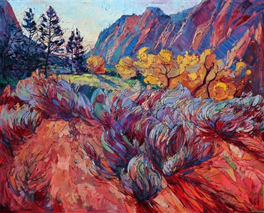 Zion National Park, powerful and vibrant oil painting by Erin Hanson