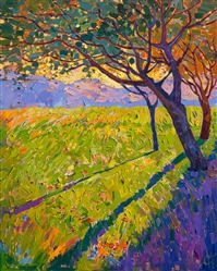 Crystal light mosaic oil painting landscape by California artist Erin Hanson