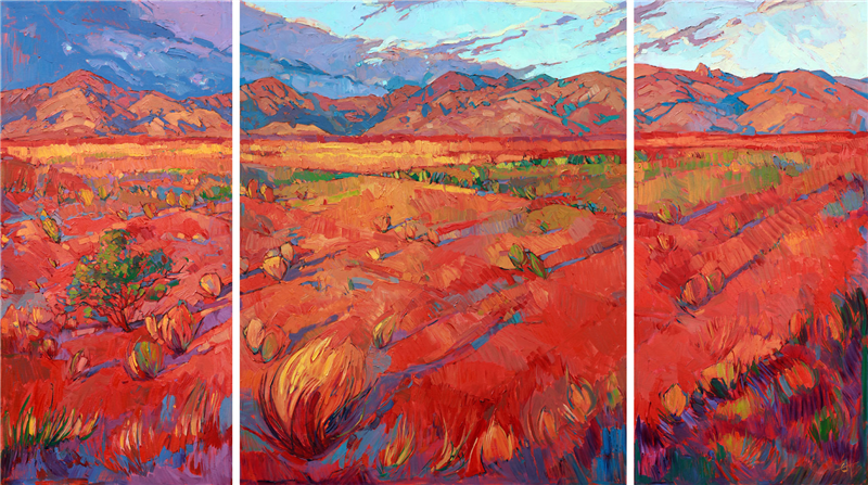 Large triptych original oil painting with loose brushstrokes by Erin Hanson