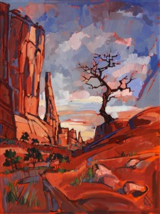 Arches National Park dramatic abstracted landscape painting by Erin Hanson