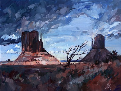 Monument's Last Light, four corners landscape painting by Erin Hanson