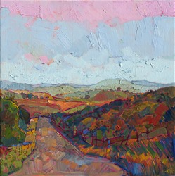 Paso Robles country road oil painting landscape by impressionist artist Erin Hanson