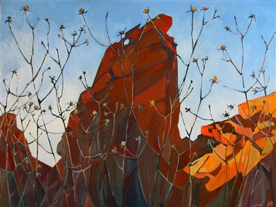 Valley of Fire abstract landscape oil painting by Erin Hanson