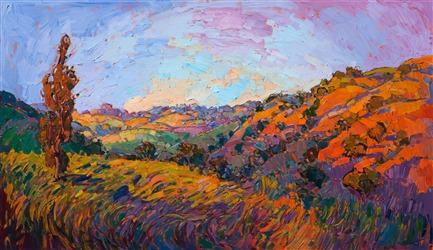 Open impressionst oil painting of California rolling hills, by Erin Hanson.