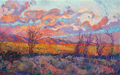 California desert original oil painting for sale by impressionist landscape artist Erin Hanson