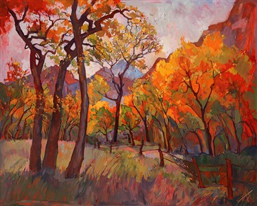Fall colors at Zion National Park, painted in expressive oils by Erin Hanson