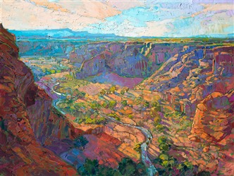 Dawn and Canyon de Chelly modern impressionist oil painting