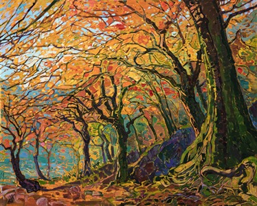 Kyoto maple trees fall color oil painting by master impressionist painter Erin Hanson.