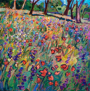 Texas hill country wildflowers oil painting in a modern impressionist style