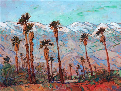 Oil painting of Palm Springs scenery with snowcapped mountains and palm trees by contemporary artist Erin Hanson