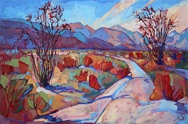 Cubism impressionism oil painting of Borrego Springs, by pioneering artist Erin Hanson