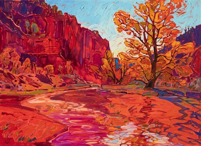 Zion National Park Hop Valley original oil painting for sale at the Zion Human History Museum