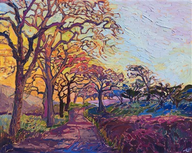 Rainbow Oaks, original oil painting by Wine Country impressionist Erin Hanson.