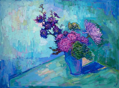 Floral still life original oil painting in an impressionism style, by Erin Hanson