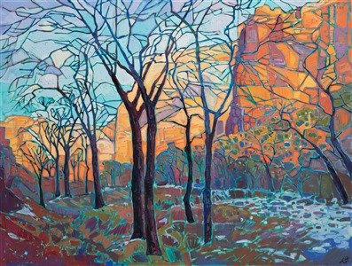 Collect oil paintings of Zion National Park in a stained glass style, by Erin Hanson