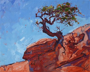 Canyonlands Pines, red rock desertscape painting by Erin Hanson