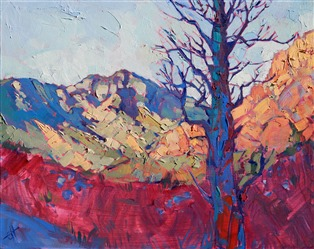 Red Rock Canyon oil painting by rock climbing artist Erin Hanson