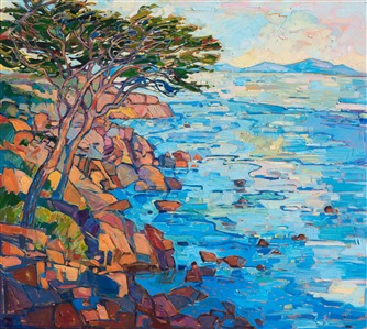 Oil painting of Pebble Beach in Monterey by contemporary artist Erin Hanson