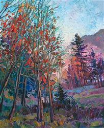 East coast Vermont landscape oil painting of fall colors, by modern impressionist Erin Hanson.