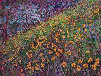 Wildflower oil painting in a modern impressionism style, by Erin Hanson.