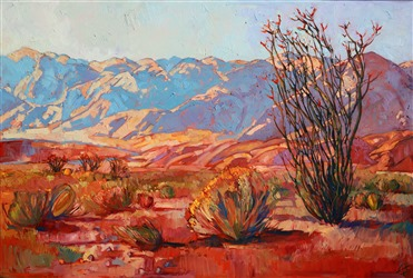 Stunning desert painting in bold color, by master oil painter Erin Hanson