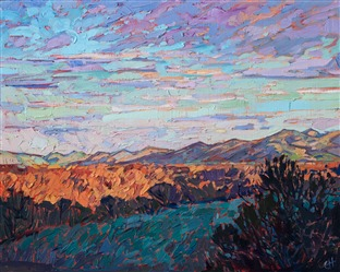 Oil painting of pastel skyscape over Paso Robles by contemporary impressionist artist Erin Hanson